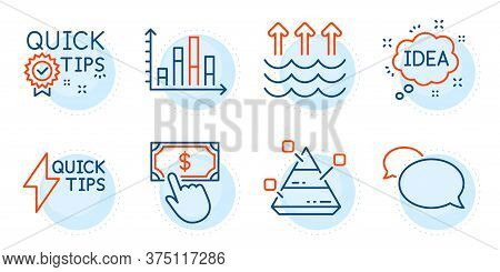 Payment Click, Idea And Diagram Graph Signs. Quickstart Guide, Pyramid Chart And Messenger Line Icon