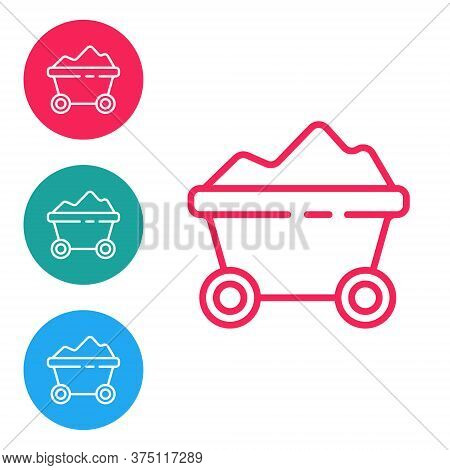 Red Line Coal Mine Trolley Icon Isolated On White Background. Factory Coal Mine Trolley. Set Icons I