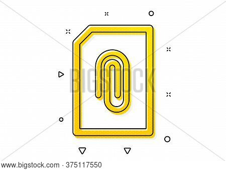 Information File Sign. Attach Document Icon. Paper Page Concept Symbol. Upload Data. Yellow Circles
