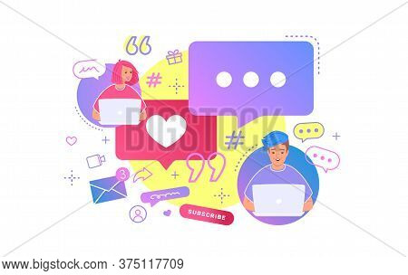 Young Couple Chatting Together In Social Media Using Laptop At Work Desk. Flat Bright Vector Illustr