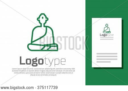 Green Line Buddhist Monk In Robes Sitting In Meditation Icon Isolated On White Background. Logo Desi