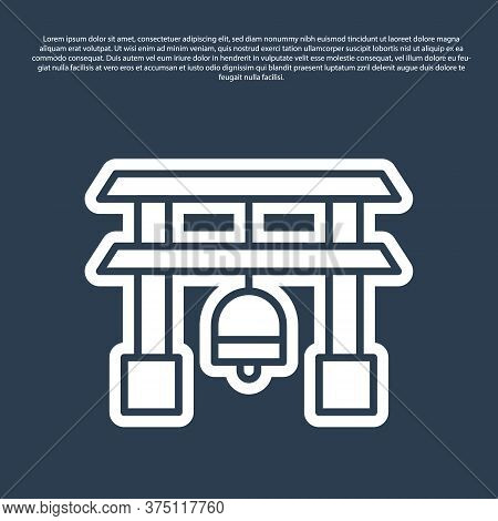 Blue Line Japan Gate Icon Isolated On Blue Background. Torii Gate Sign. Japanese Traditional Classic