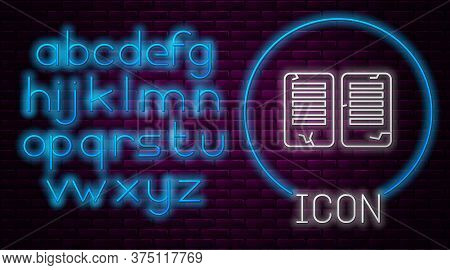 Glowing Neon Line The Commandments Icon Isolated On Brick Wall Background. Gods Law Concept. Neon Li