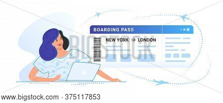 Boarding Pass Concept Vector Illustration Of Young Smiling Woman Sitting With Laptop And Looking At
