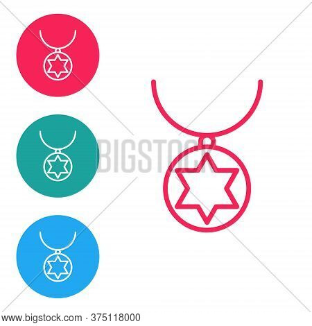 Red Line Star Of David Necklace On Chain Icon Isolated On White Background. Jewish Religion. Symbol