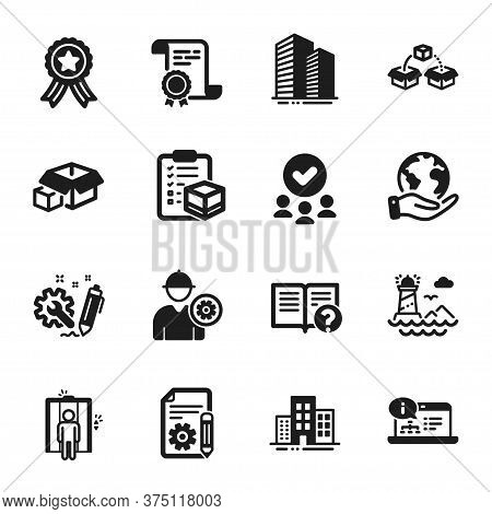 Set Of Industrial Icons, Such As Engineer, Online Documentation. Certificate, Approved Group, Save P