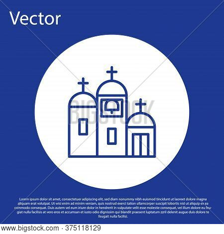 Blue Line Church Building Icon Isolated On Blue Background. Christian Church. Religion Of Church. Wh