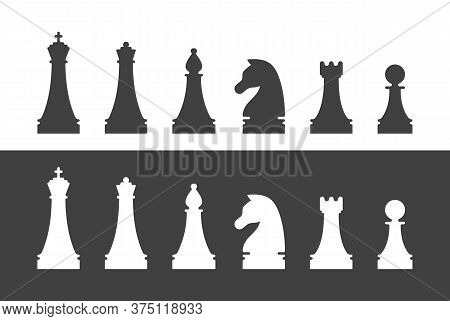 Chess Pieces Silhouettes. King, Queen, Bishop, Knight, Rook And Pawn Figures Isolated Set. Sport Equ