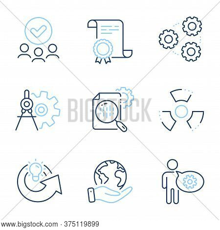 Cogwheel, Share Idea And Seo Stats Line Icons Set. Diploma Certificate, Save Planet, Group Of People