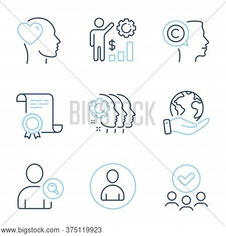 Friend, Avatar And Writer Line Icons Set. Diploma Certificate, Save Planet, Group Of People. Employe