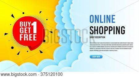 Buy 1 Get 1 Free Badge. Clouds Banner Template. Discount Banner Tag. Coupon Icon. Online Shopping Ba