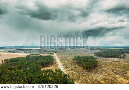 Aerial View Of Road Through Deforestation Area Landscape. Green Pine Forest In Deforestation Zone. T