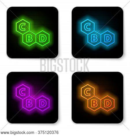 Glowing Neon Line Cannabis Molecule Icon Isolated On White Background. Cannabidiol Molecular Structu