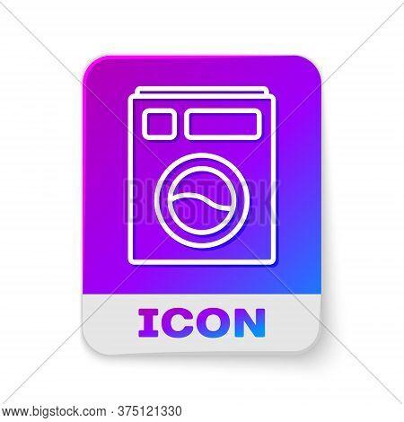 White Line Washer Icon Isolated On White Background. Washing Machine Icon. Clothes Washer - Laundry