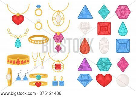Set Of Jewelry Colorful Icons. Luxury Precious Jewelries Of Rings, Necklaces, Chains With Pendants,