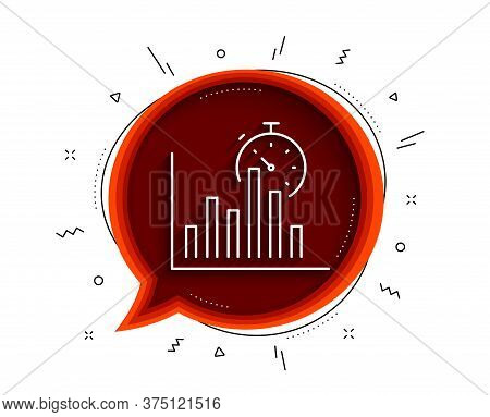 Report Timer Line Icon. Chat Bubble With Shadow. Column Graph Sign. Growth Diagram Chart Symbol. Thi