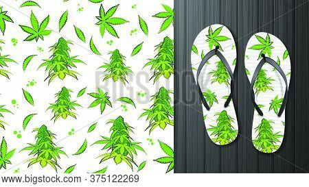 White And Green Seamless Pattern With Flowers And Leaves Of Cannabis. Eco Pattern Ready To Print In