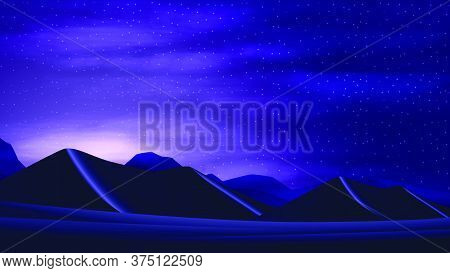 Sunset In The Desert With Sand Dunes, Starry Cloud Sky And Mountains On The Horizon.