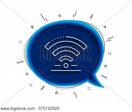 Wifi Line Icon. Chat Bubble With Shadow. Wireless Internet Sign. Hotel Service Symbol. Thin Line Wif