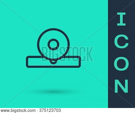Black Line Otolaryngological Head Reflector Icon Isolated On Green Background. Equipment For Inspect