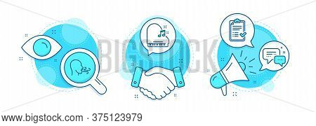 Breathing Exercise, Employees Messenger And Approved Checklist Line Icons Set. Handshake Deal, Resea