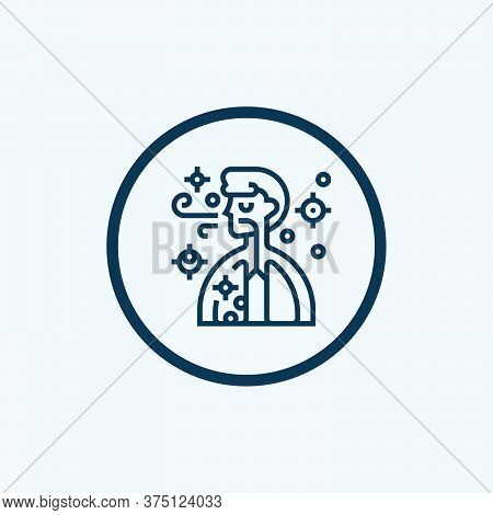 Breathing And Human Head Breath. Breathe Illness Cough. Simple Vector Modern Icon Design Illustratio