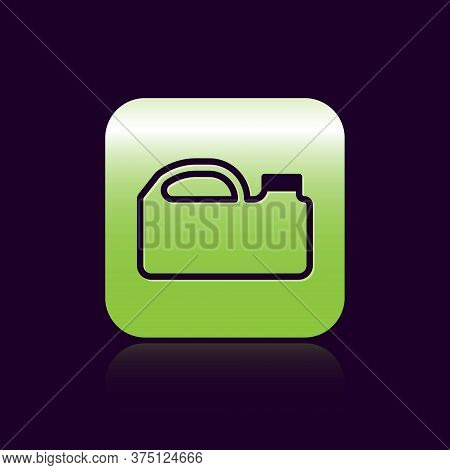 Black Line Plastic Canister For Motor Machine Oil Icon Isolated On Black Background. Oil Gallon. Oil
