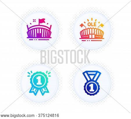 Arena, Reward And Sports Arena Icons Simple Set. Button With Halftone Dots. Best Rank Sign. Sport St