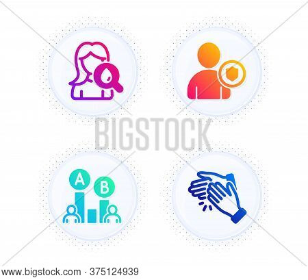 Moisturizing Cream, Security And Ab Testing Icons Simple Set. Button With Halftone Dots. Clapping Ha