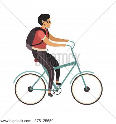 Man Riding Bicycle. Simple Young Character Cyclist Guy Rides On Bike. Outdoor Activities In Park, He