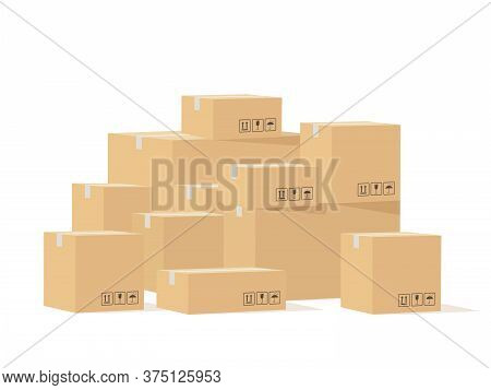 Box Pile. Cardboard Boxes Different Size With Fragile Signs, Shipping Goods Carton Package, Stockpil