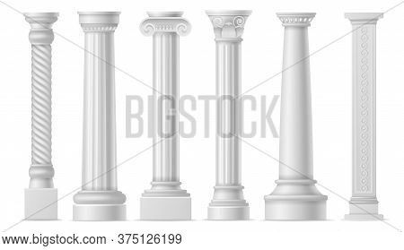 Antique White Columns. Roman Historical Stone Colonnade Or Pillars, Realistic Marble Pillar Ancient