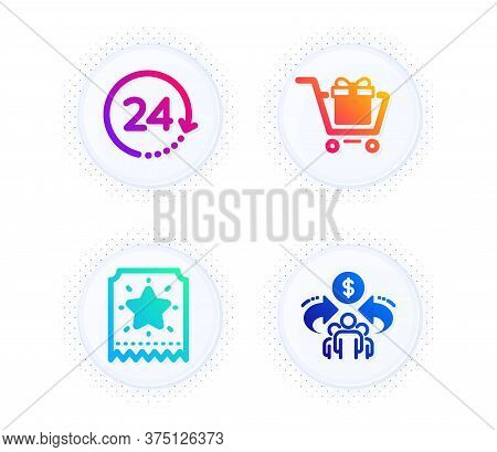 Loyalty Ticket, Shopping Cart And 24 Hours Icons Simple Set. Button With Halftone Dots. Sharing Econ