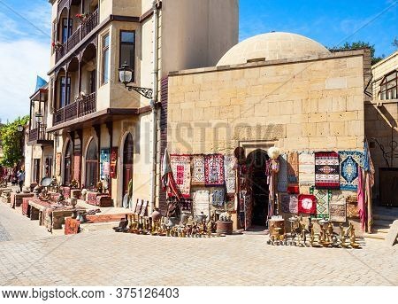 Souvenir Market In The Old City In Baku, Azerbaijan. Inner City Is The Historical Core Of Baku And U