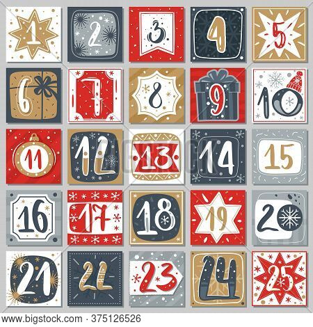December Advent Calendar. Christmas Poster Countdown Printable Tags Numbered Poster With Xmas Orname