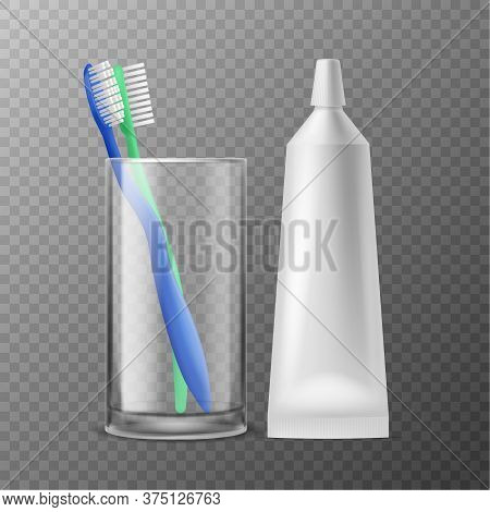 Toothbrush In Glass. Dental Morning Hygiene, Realistic Toothbrushes With Tube Paste, Toiletries For