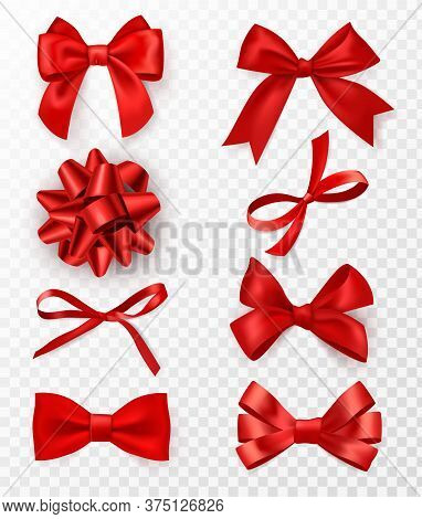 Decorative Bows. Realistic Red Silk Ribbons With Bow Festive Decor Satin Rose, Luxury Elements For H