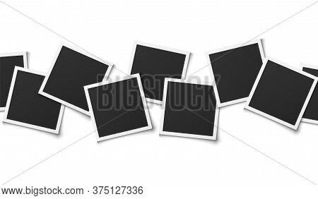 Photo Collage. Realistic Square Frames Composition, Empty Montage Template Design, Memory Album, Vec