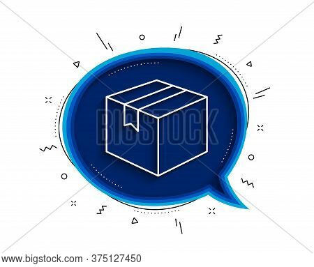 Shipping Box Line Icon. Chat Bubble With Shadow. Logistics Delivery Sign. Parcels Tracking Symbol. T