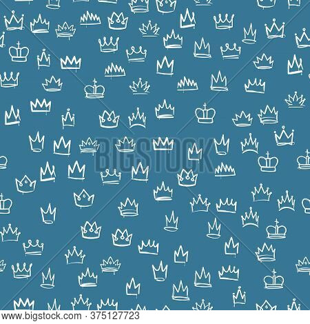 Crowns Seamless Pattern. White Hand Drawn Texture With Sketches Of The Royal Crown, Majestic Tiara,