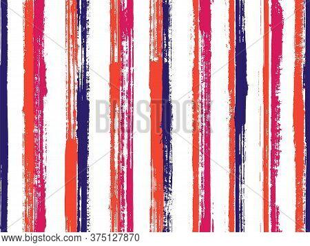 Ink Handdrawn Grunge Stripes Vector Seamless Pattern. Funky Bedding Textile Print Design. Retro Text
