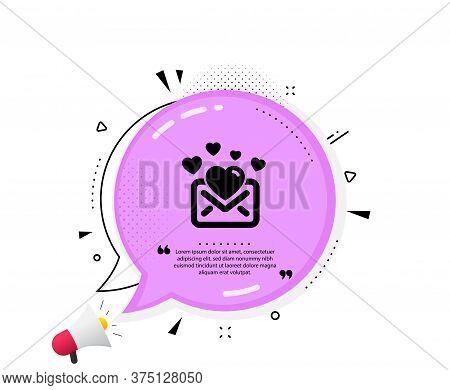 Love Mail Icon. Quote Speech Bubble. Valentines Message Correspondence Sign. E-mail Symbol. Quotatio