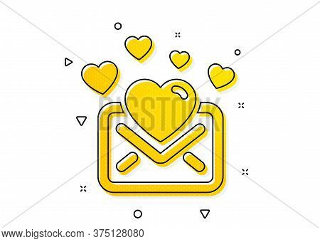Valentines Message Correspondence Sign. Love Mail Icon. E-mail Symbol. Yellow Circles Pattern. Class