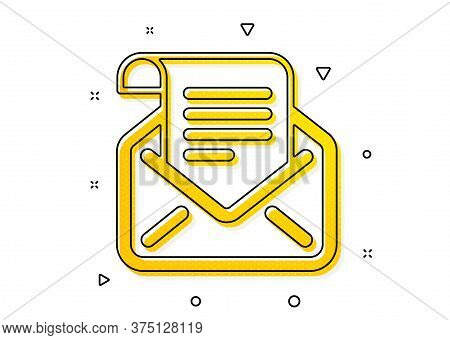 Read Message Correspondence Sign. Mail Newsletter Icon. E-mail Symbol. Yellow Circles Pattern. Class