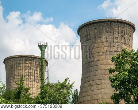 Cooling Towers Of A Large Thermal Power Plant Located In Bucharest.