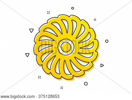 Jet Turbine Sign. Fan Engine Icon. Ventilator Symbol. Yellow Circles Pattern. Classic Fan Engine Ico