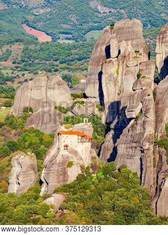 The Monastery Of St. Nicholas Anapausas At Meteora. Meteora Is One Of The Largest Built Complexes Of