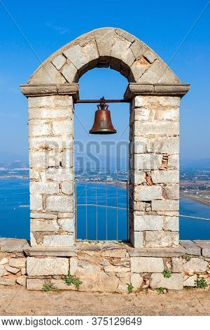 Viewpoint And Arch With Bell At The Palamidi Fortress In Nafplio In The Peloponnese Region Of Southe