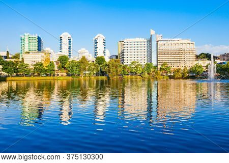 Breiavatnet Small Lake In The Centre Of Stavanger, Norway. Stavanger Is A City And Municipality In N