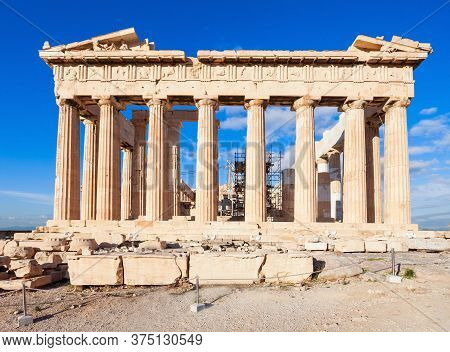 The Parthenon Temple On The Acropolis In Athens, Greece. The Acropolis Of Athens Is An Ancient Citad